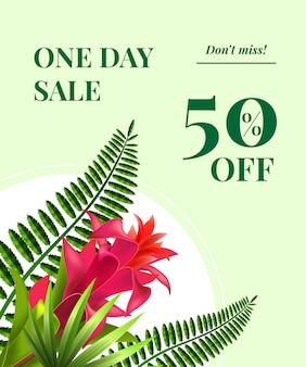 Un giorno di vendita, cinquanta per cento di sconto, non perdere coupon con fiori rossi e foglie