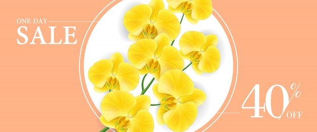 One day sale, forty percent off banner with yellow flowers in round frame