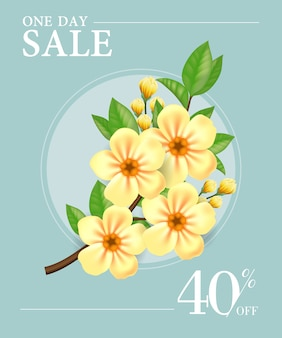 One day sale, forty percent off poster with yellow flowers in round frame