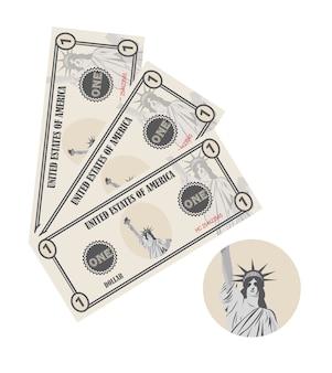 자유의 여신상과 1 달러