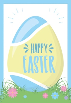 One easter egg on grass with flowers, greeting card