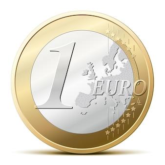Монета один евро, подробные векторные иллюстрации
