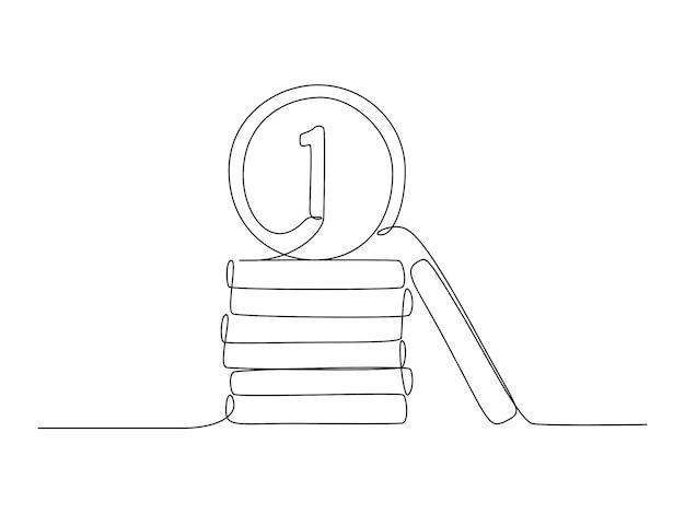 1유로 또는 1페니 동전 스택 드로잉은 낙서 스타일로 하나의 연속 선으로 만들어집니다.