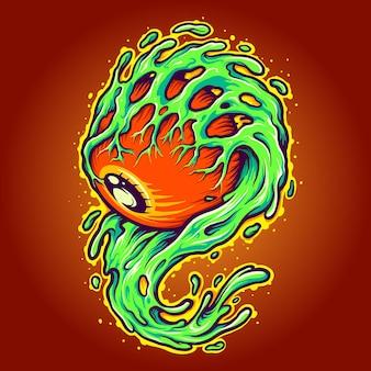 One eye monster melt halloween векторные иллюстрации для вашей работы логотип, футболка с товарами талисмана, наклейки и дизайн этикеток, плакат, поздравительные открытки, рекламирующие бизнес-компанию или бренды.