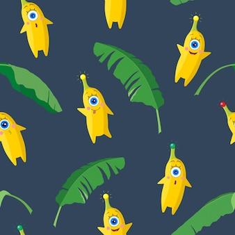 Одноглазые банановые персонажи и тропические листья на темном фоне. бесшовные модели. набор разных эмоций. векторная иллюстрация. для детского текстиля, принтов, обложек, дизайнов упаковки.