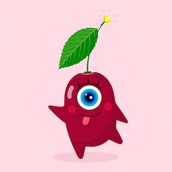 Одноглазый вишневый персонаж. счастливый. сделано в векторе. для детского текстиля, принтов, обложек, дизайнов упаковки, сувениров.
