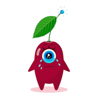 One-eyed cherry character. isolated on a white background. crying. made in a vector. for children's textiles, prints, covers, packaging designs, souvenirs