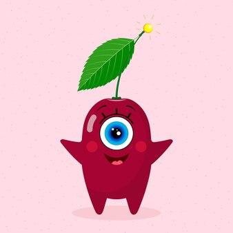 Одноглазый вишневый персонаж. радостный. сделано в векторе. для детского текстиля, принтов, обложек, дизайнов упаковки, сувениров.