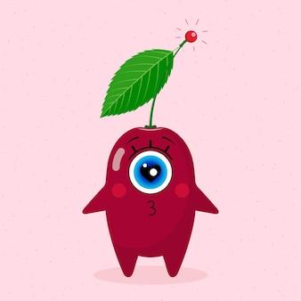 Одноглазый вишневый персонаж. любовь. сделано в векторе. для детского текстиля, принтов, обложек, дизайнов упаковки, сувениров.