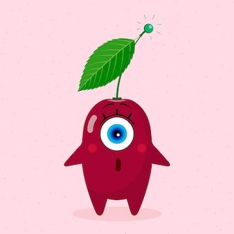 Одноглазый вишневый персонаж. сюрприз. сделано в векторе. для детского текстиля, принтов, обложек, дизайнов упаковки, сувениров.