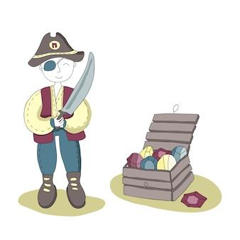 Одноглазый пират с мечом в руке стоит рядом с сундуком с сокровищами. простая иллюстрация для детей.