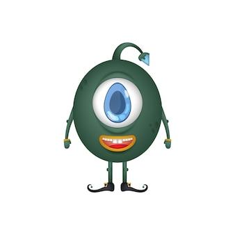 외눈 박이 둥근 녹색 괴물. 만화 스타일의 스노클링 괴물. 외딴.