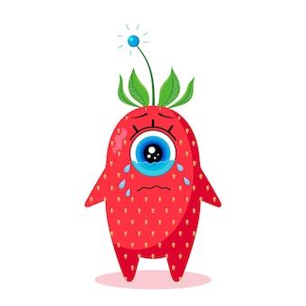 片目のイチゴのキャラクター。白い背景で隔離。泣いています。ベクトルで作られました。子供用テキスタイル、プリント、カバー、パッケージデザイン、お土産用