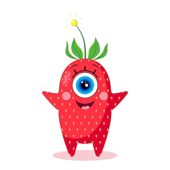 One-eyed strawberry character. isolated on a white background. joyful. made in a vector. for children's textiles, prints, covers, packaging designs, souvenirs