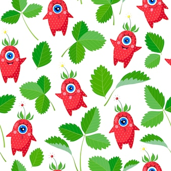 Одноглазые персонажи клубники и листья на белом фоне. бесшовные модели. набор разных эмоций. векторная иллюстрация. для детского текстиля, принтов, обложек, дизайнов упаковки.