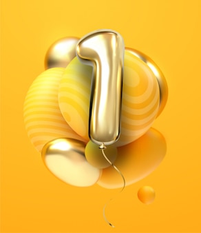 One, first, maiden, top. premier. golden number 1 four made of inflatable balloon with golden ribbon isolated on white background