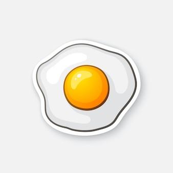 하나의 튀긴 계란 스크램블 에그 건강 식품 만화 스타일의 만화 스티커 벡터 일러스트 레이 션