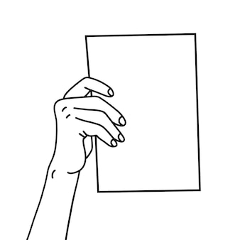 One hand holding a paper sheet hand drawn with thin line presenting document showing memo template f...