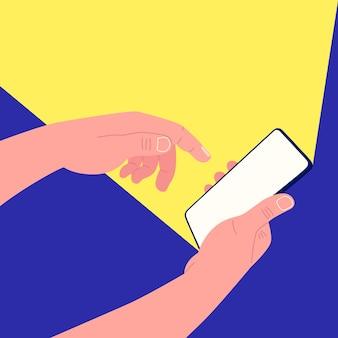 한 손은 스마트 폰을 잡고 다른 손은 화면을 터치합니다.
