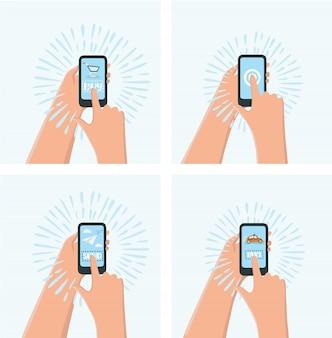 한 손에는 스마트 폰 샵, 다른 한 손에는 아이콘 쇼핑, 전자 상거래가있는 스마트 폰,
