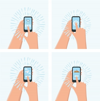 One hand holds a smartphone shop, the other hand holding a smart phone with icon shopping, e-commerce on the phone,
