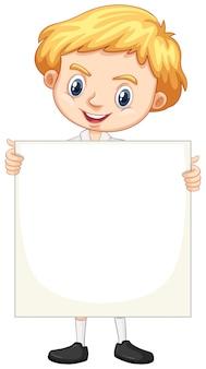 One happy boy with blank board