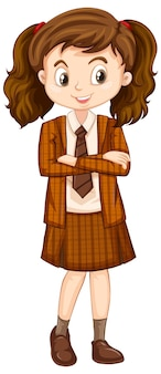 One happy girl in brown uniform