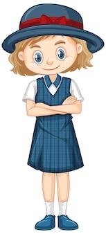 파란색 제복을 입은 행복한 소녀