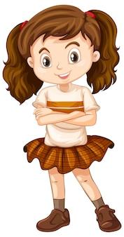 갈색 치마를 입은 행복한 소녀