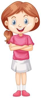 Одна счастливая девушка в розовой рубашке