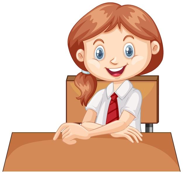 Одна счастливая девушка, сидящая на столе