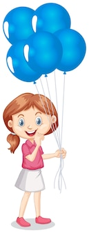 One happy girl with blue balloons