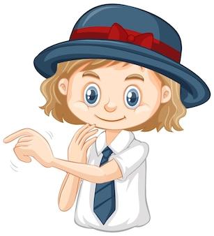 灰色の帽子を持つ一人の幸せな女の子