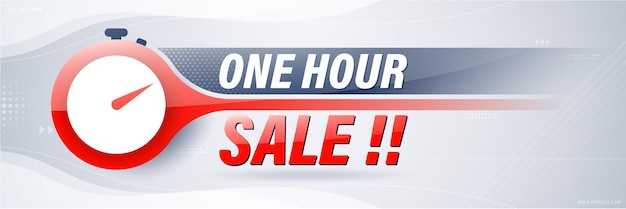 One hour sale banner template design for web or social media.