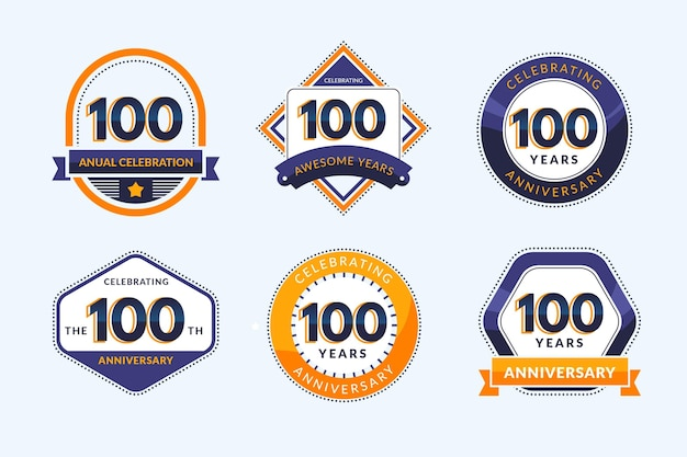 One hundred anniversary badges collection