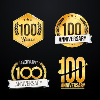 One hundred anniversary labels pack