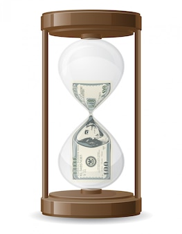 One hundred dollars leaking in the hourglass vector illustration