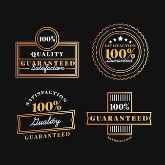 One hundred percent guarantee badge collection