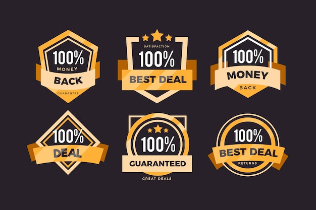 One hundred percent guarantee badges set