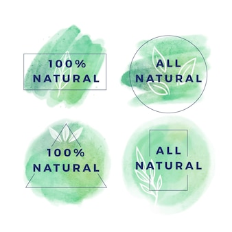 One hundred percent natural badge collection
