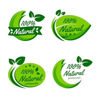 One hundred percent natural badge set