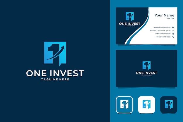 1つの投資ビジネスロゴデザインと名刺
