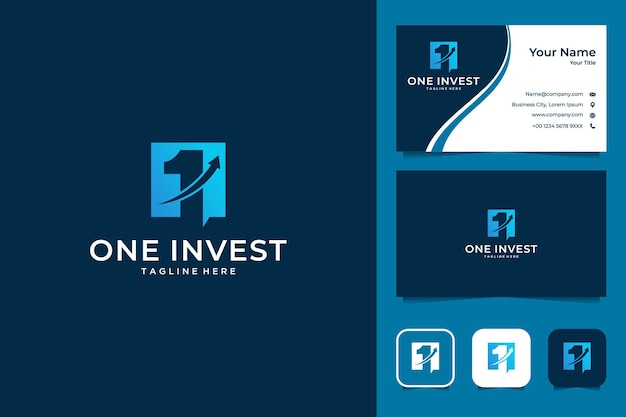 One invest business logo design and business card