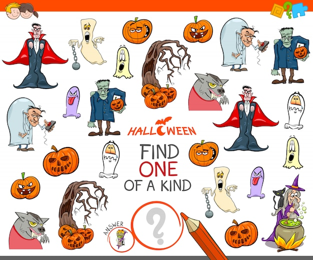 One of a kind activity game with halloween characters