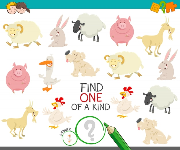 One of a kind educational game with farm animals