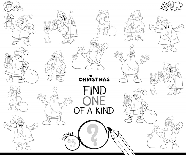 One of a kind educational game with santa claus