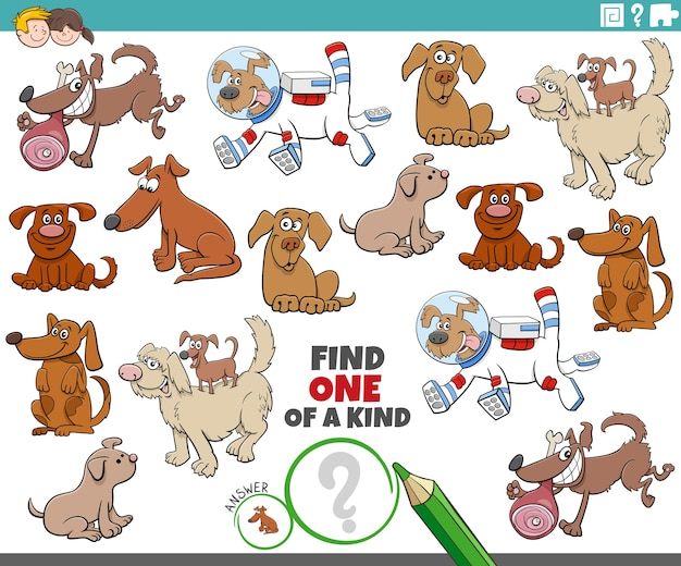 One of a kind game for children with cartoon dogs