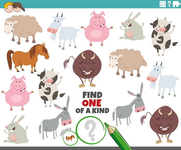 One of a kind game for children with cartoon farm animals