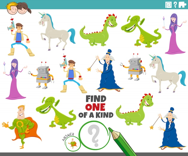 One of a kind game for children with fantasy characters
