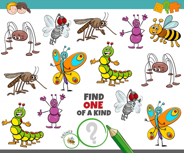 One of a kind game for children with happy insects